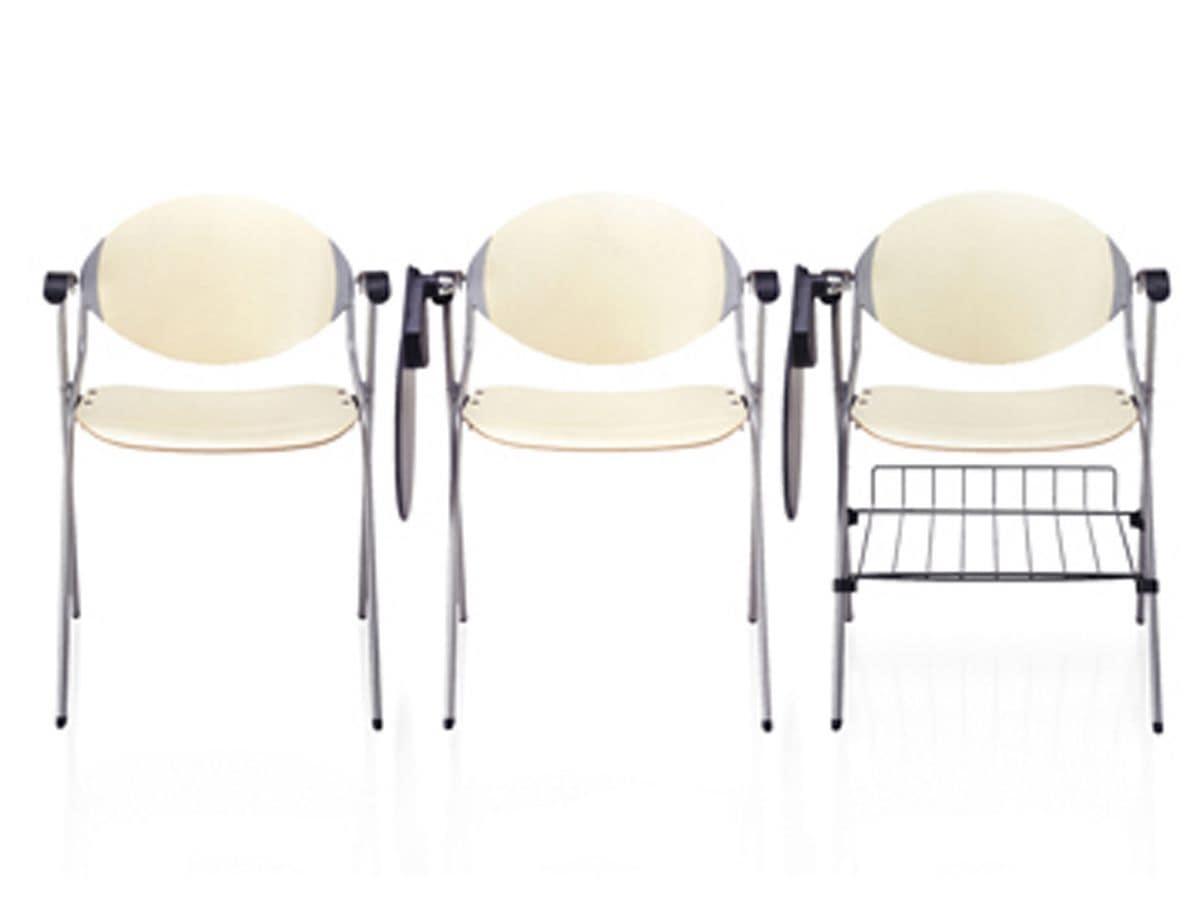 Ellisse, Sedie per sale conferenza, con tavoletta e sedile imbottito