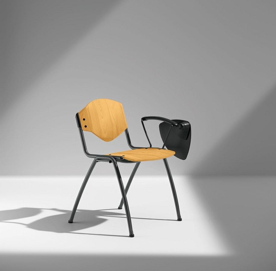 OMNIA CONTRACT 4G, Sedia 4 gambe per conferenze, con tavoletta