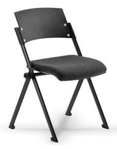 Comoda 01, Sedia impilabile con sedile ribaltabile, per sala conferenza