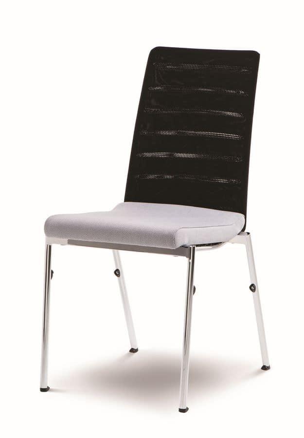 Evosa Congress 08/3, Sedia polivalente in acciaio, seduta imbottita, schienale anatomico, per conferenze, riunioni, banchetti