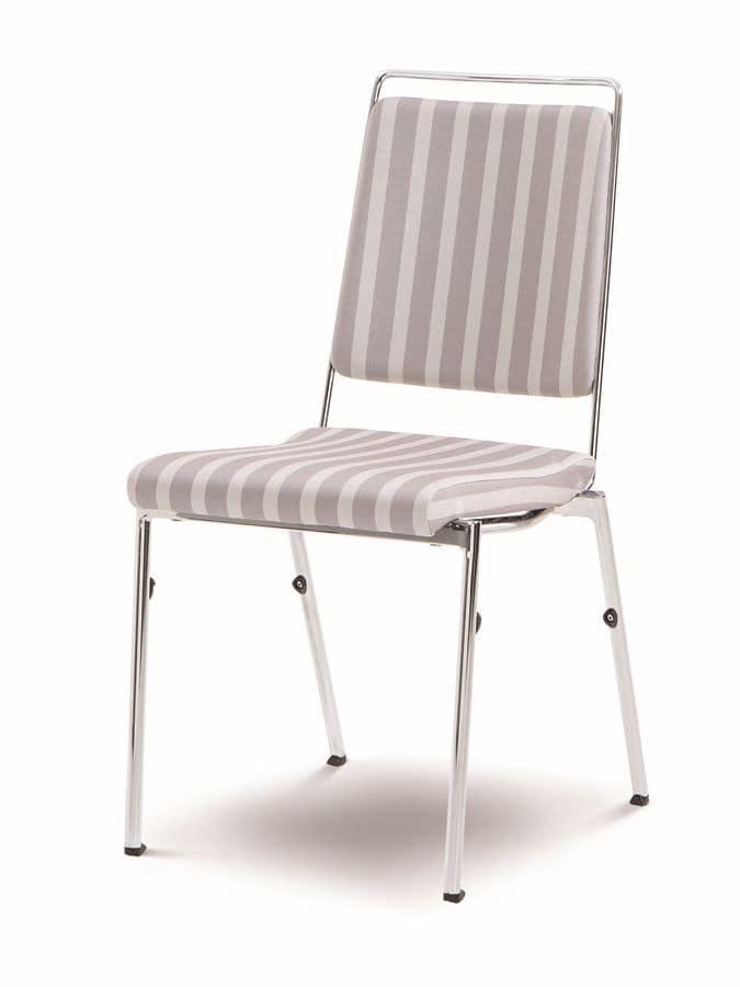 Sedia impilabile in acciaio cromato, sedile ignifugo, schienale anatomico, per sale conferenze ...