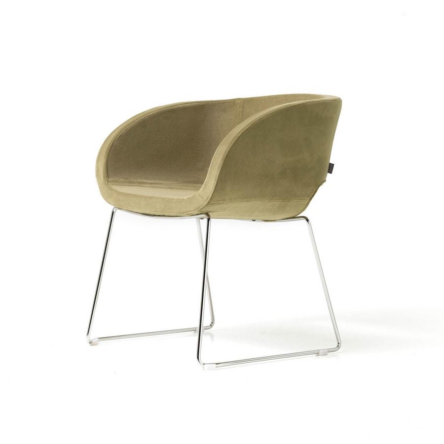Vanity 4 gambe, Poltroncina con 4 gambe cromate, interno in metallo