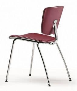 VEKTATOP 120, Sedia impilabile in metallo, seduta rivestita in cuoio