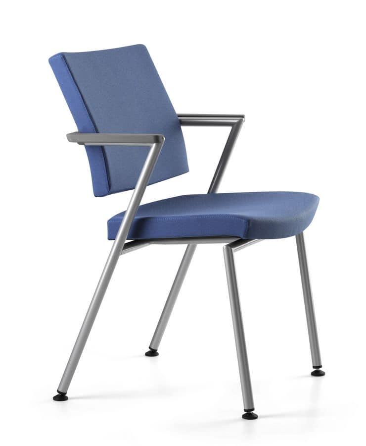 Sedia operativa per ufficio imbottita con braccioli - Sedia imbottita con braccioli ...