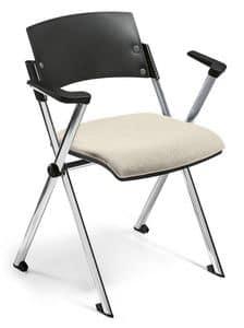 Comoda 02, Sedia impilabile, seduta ribaltabile, con braccioli