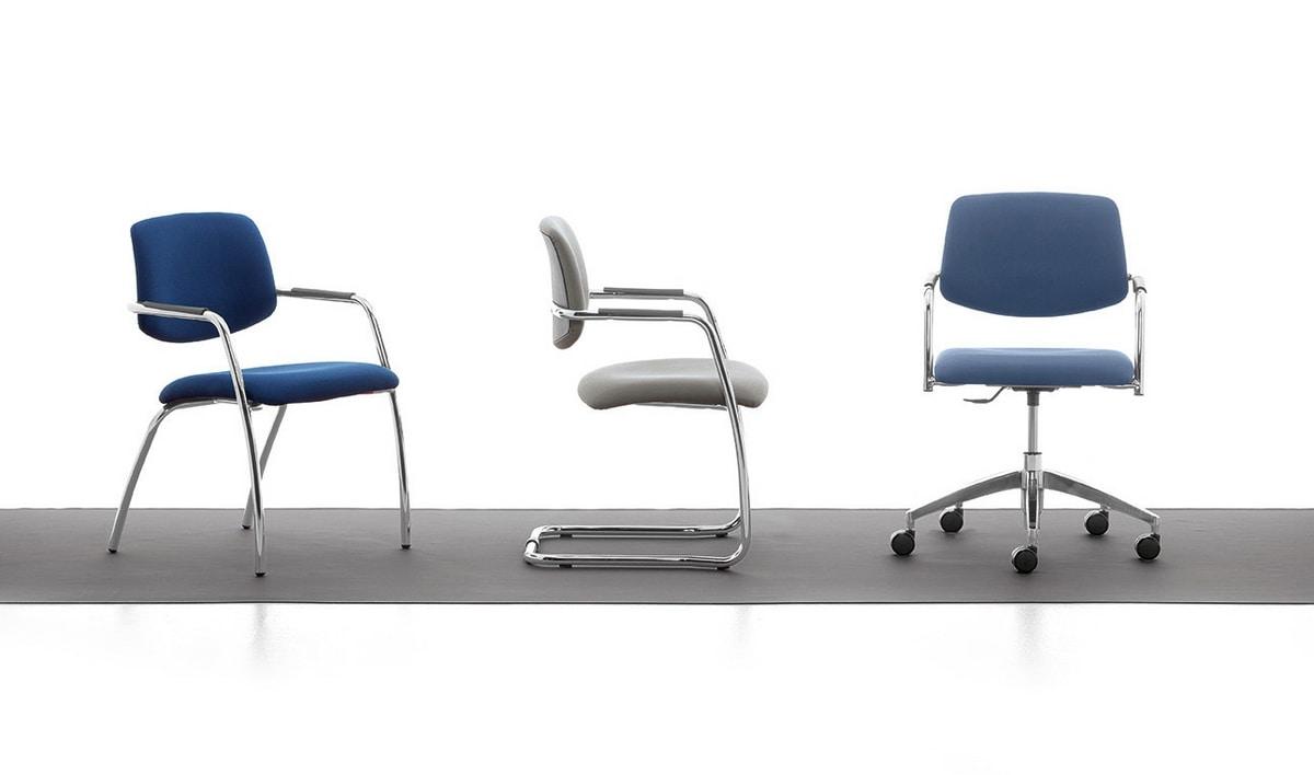 Samba 02, Sedia in metallo cromato, seduta e schienale imbottiti, per ufficio