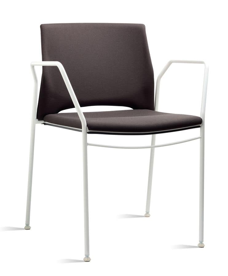 TREK 038 Z, Sedia con braccioli in metallo e polimero, in vari colori