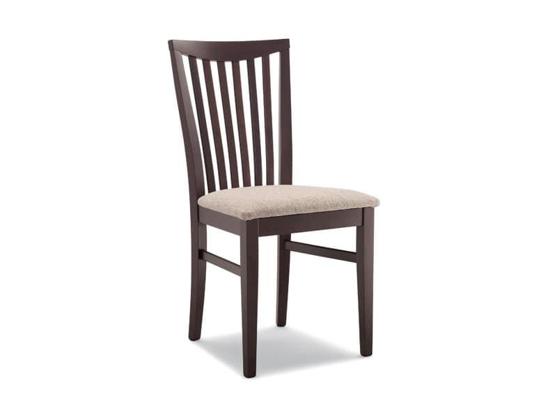 167, Sedia in legno massiccio, schienale con motivo verticale