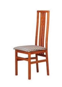 301, Sedia con sedile in tessuto, schienale alto a doghe verticali