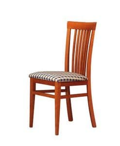 315, Sedia per soggiorno, sedile in tessuto, schienale a doghe