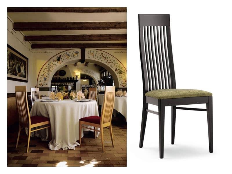 Sedie Schienale Alto Legno : Sedia in faggio con schienale alto con doghe verticali idfdesign