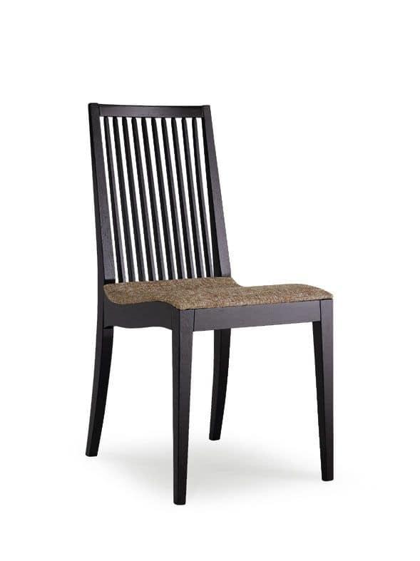 BETTY/S, Sedia in legno, schienale con doghe a motivo verticale