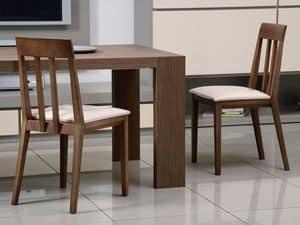 Complementi Sedia 01, Sedia in legno, seduta imbottita, schienale a doghe verticali