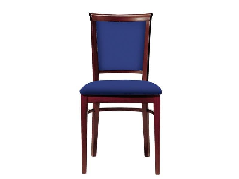 063 3/4, Sedia da pranzo in legno, seduta e schienale imbottiti
