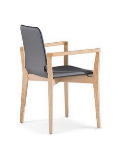 1123, Sedia con braccioli fatta in legno, imbottita