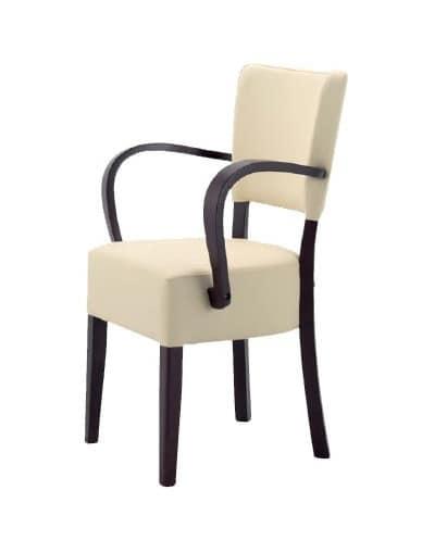 302, Sedia in legno con seduta e schienale imbottiti