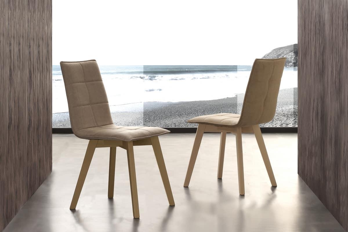 Sedia rivestita in cotone per sala da pranzo idfdesign for Sedie da pranzo economiche