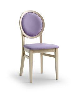 BELLAMIE.2, Sedia con schienale a medaglione imbottito