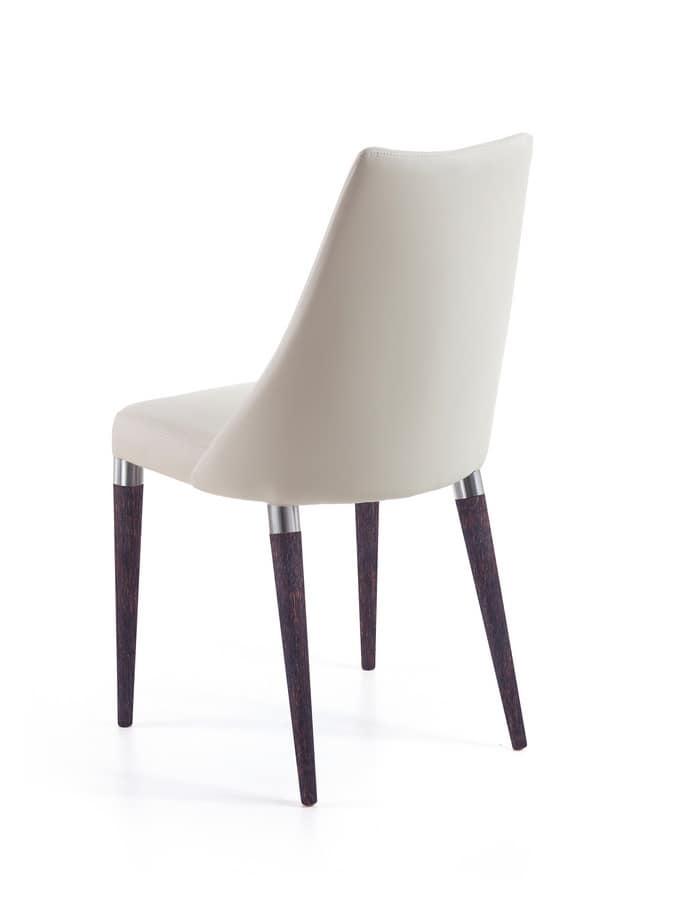 Biancade, Sedia con gambe in legno con anello di metallo, per bar