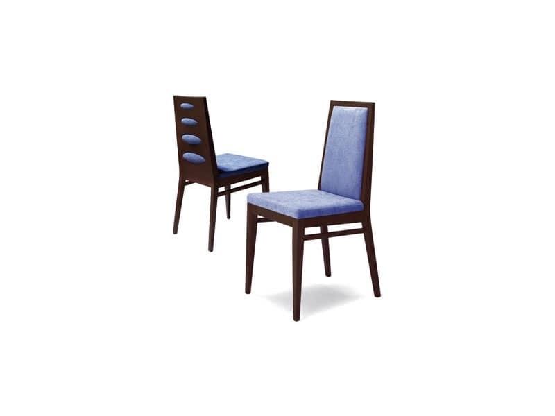 D01, Sedia in legno di faggio, seduta imbottita, per uso contract