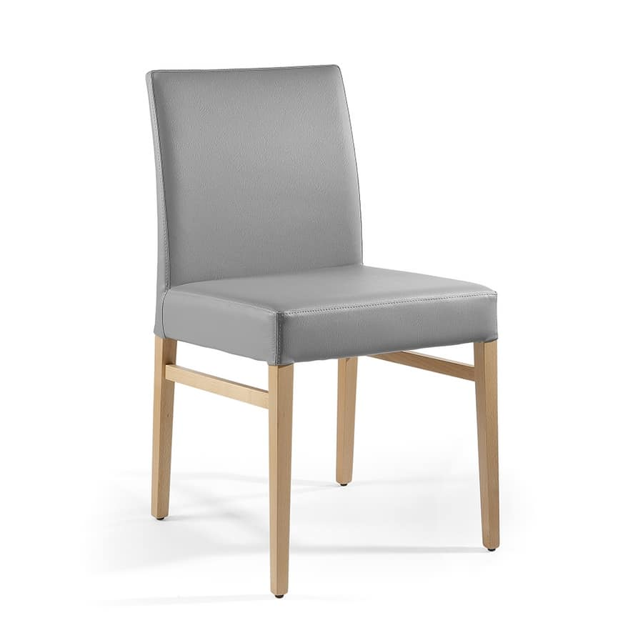 Sedia imbottita rivestita in pelle per sala da pranzo for Pelle per rivestimento sedie
