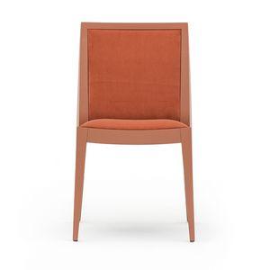 Flame 02111, Sedia in legno massiccio, seduta e schienale imbottiti, copertura in tessuto, stile moderno