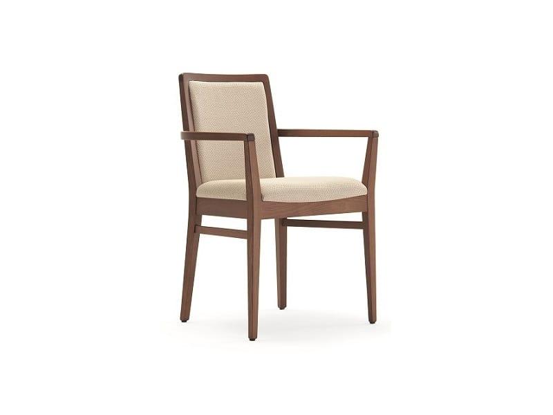 Godiva-P1, Sedia in legno con braccioli, imbottita