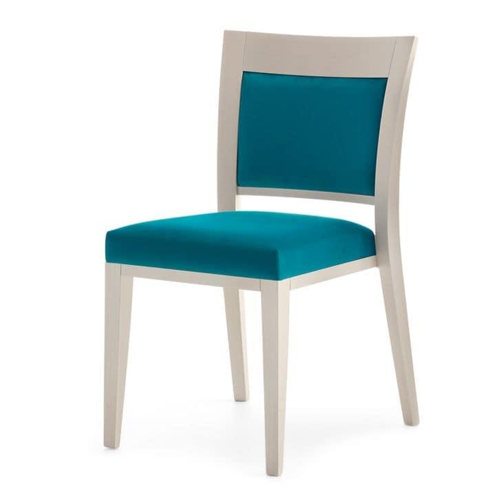 Logica 00917, Sedia impilabile, seduta e schienale imbottiti, struttura in legno