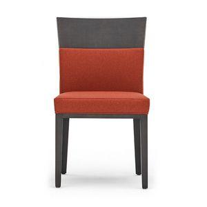 Logica 00930, Sedia in legno massiccio, seduta e schienale imbottiti, per ambienti contract