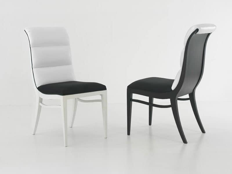 MELANIE sedia 8362S, Sedia imbottita senza braccioli, con schienale curvato