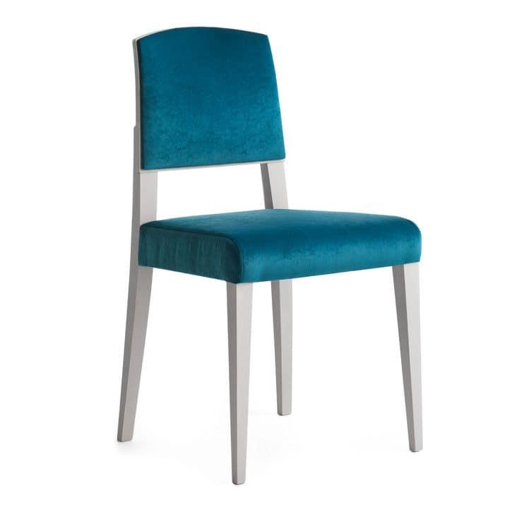 Sedia in legno massiccio, seduta e schienale imbottita, copertura in tessuto, stile moderno ...