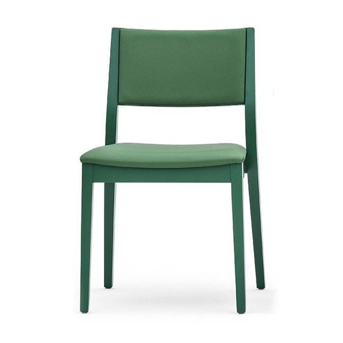 Sedia in legno massiccio, schienale e seduta imbottita, stile moderno  IDFdesign