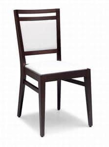 Solange, Sedia in legno con seduta e schienale imbottiti