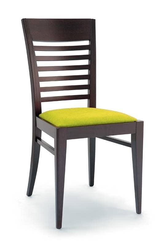 185, Sedia in legno per bar, sedia con seduta imbottita per ristoranti