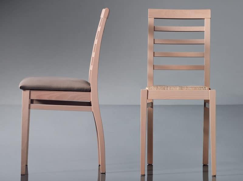 ART. 135 HARMONY, Sedia da pranzo, lineare, in faggio, per uso contract