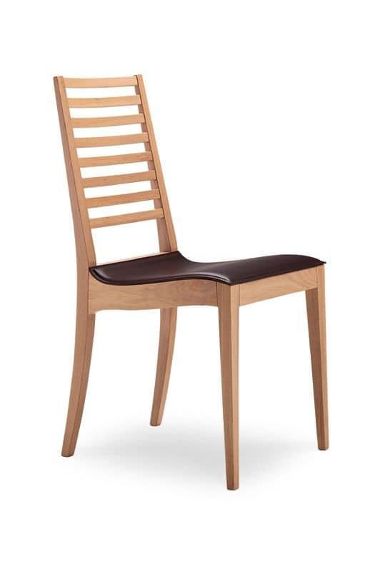 Sedia in legno seduta in cuoio schienale a doghe for Cuoio arredo