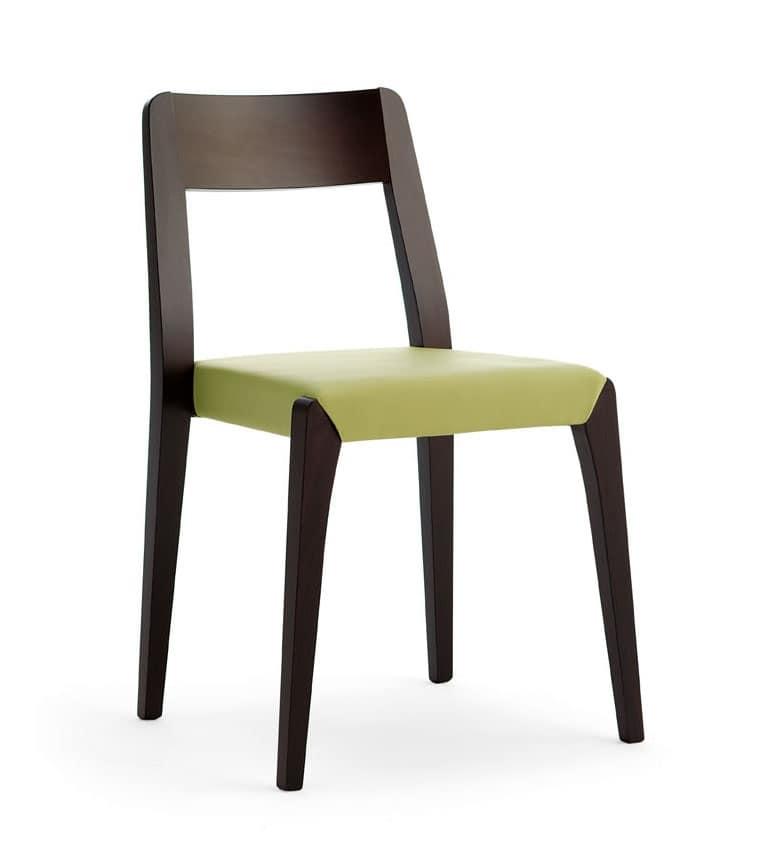 Sedia impilabile in legno di faggio, per bar e hotel  IDFdesign
