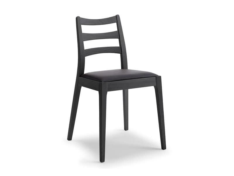 Evita, Sedia lineare in legno, sedile imbottito, per Ristorante