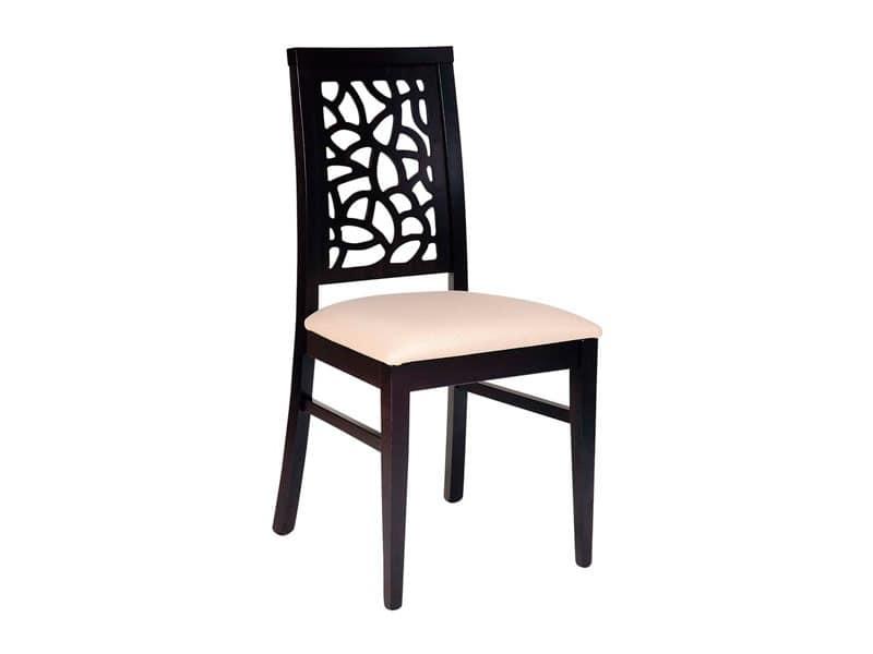 Sedute Per Sedie Di Legno.Sedia In Legno Seduta Imbottita Schienale Traforato Idfdesign