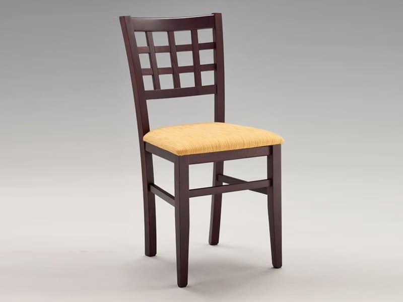 SE 427, Sedia seduta imbottita, schienale a quadri, per ristorante