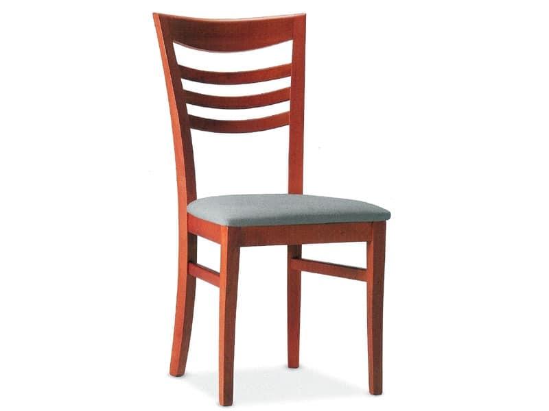 SVEVA, Sedia in legno con seduta imbottita, per uso contract