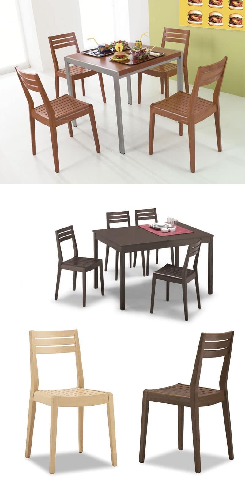 Sedute sedie moderne legno e schienale doghe orizzontali for Contract sedie