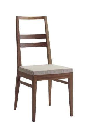 Us Denise, Sedia in legno per la casa, sedia con seduta imbottita per ristoranti
