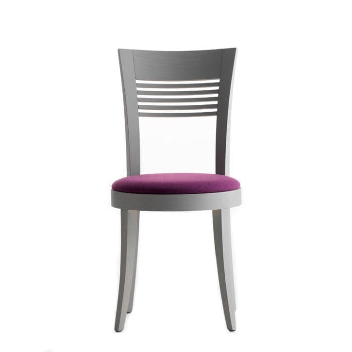Vienna 01312, Sedia con struttura in legno massiccio, seduta imbottita, copertura in tessuto, per ambienti contract