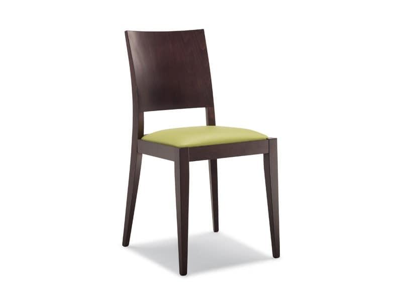 160, Sedia in legno, seduta imbottita, per ristoranti