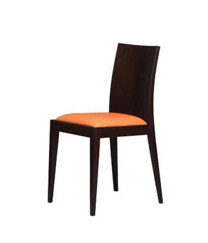 331, Sedia con schienale in legno liscio, per pasticceria