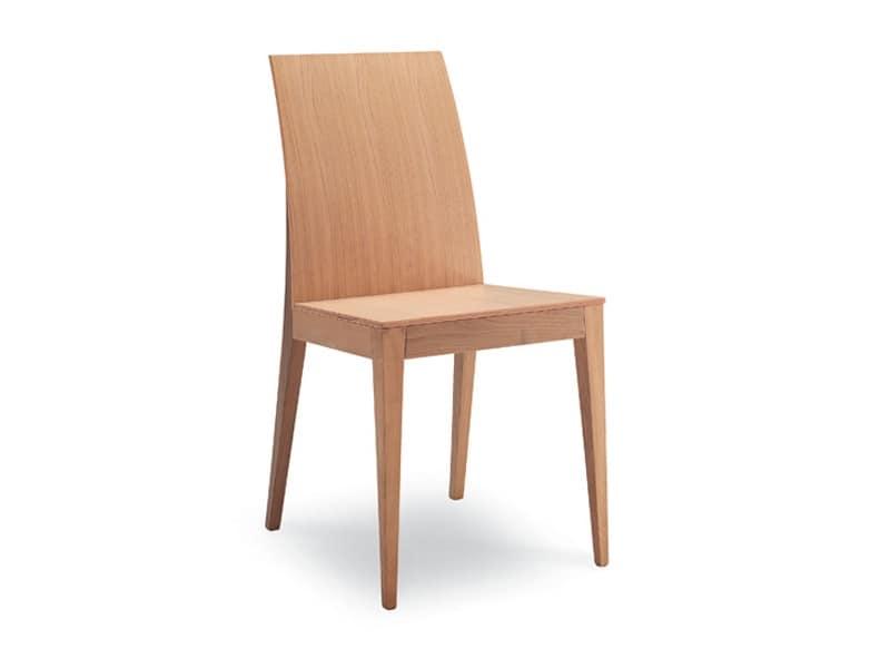 Sedia in legno per soggiorno senza braccioli idfdesign for Sedie moderne per tavolo in legno
