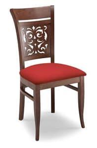 Gloria PANT, Sedia imbottita, con schienale in legno traforato