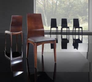 KARINA sedia 8526S, Sedia in frassino massello e poliuretano, per soggiorno
