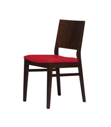 M01, Sedia in faggio con seduta imbottita, per uso contract e domestico